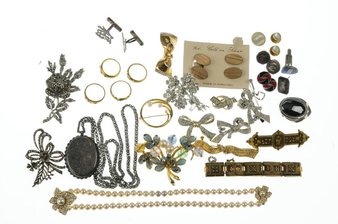 A selection of silver and white metal and costume - 2