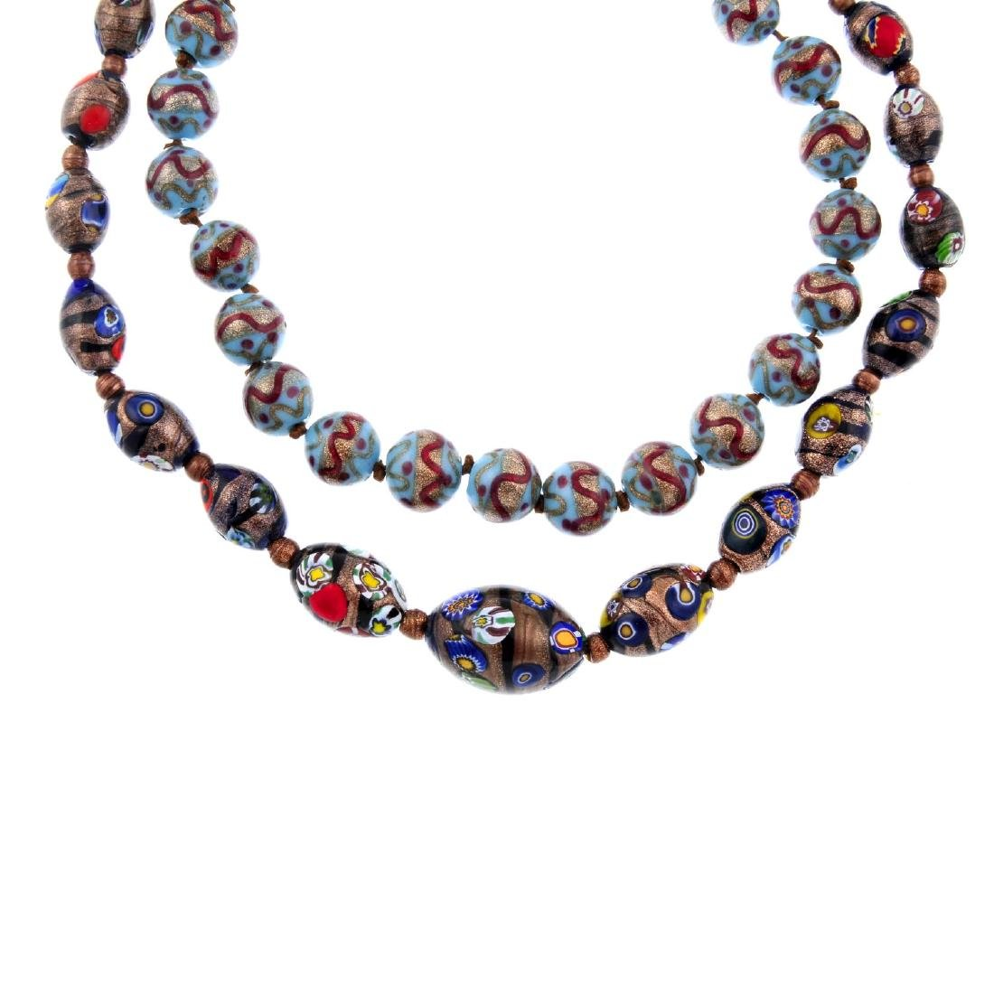 Six mid 20th century glass bead necklaces. To include a