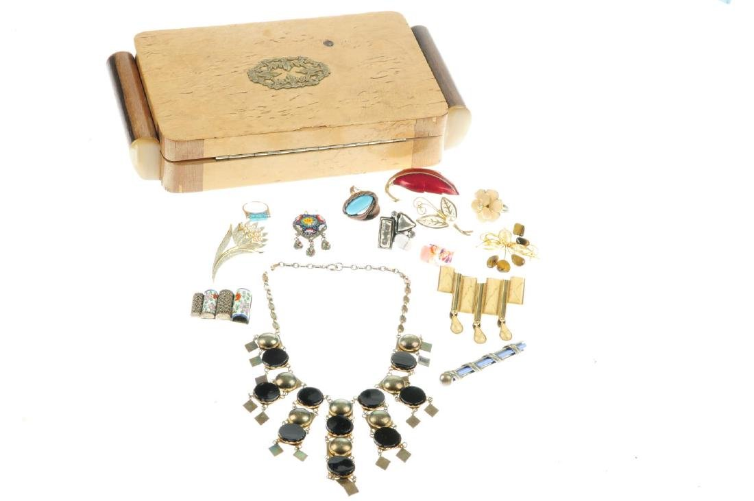 A selection of costume jewellery and a 1930s wooden - 2