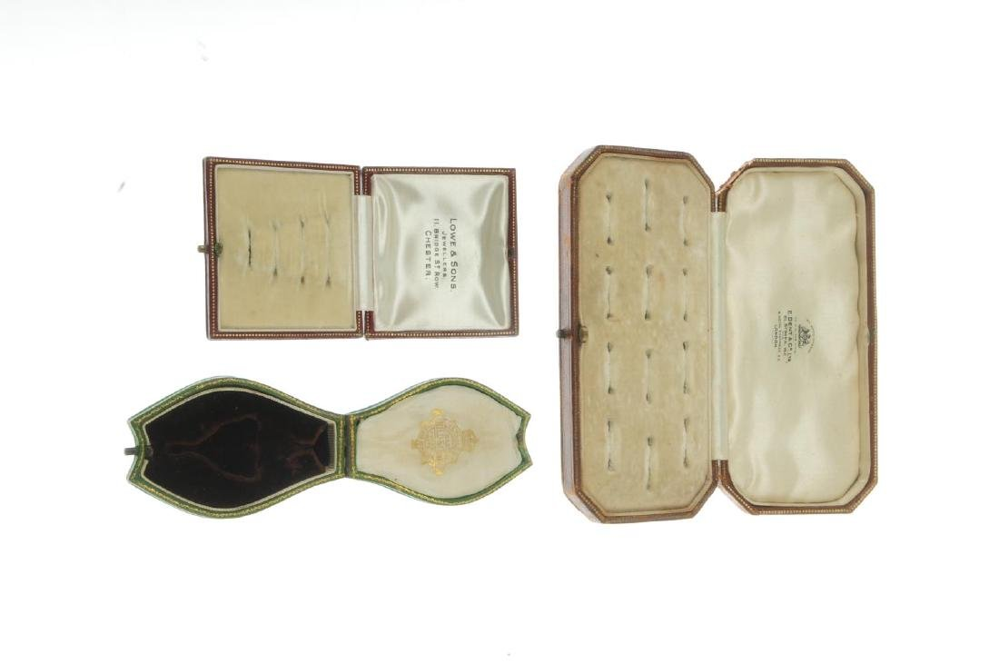 Thirty-one antique jewellery boxes. To include a  green - 2