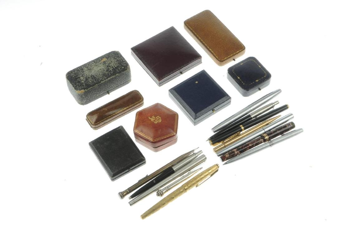 A selection of pens and jewellery boxes. To include an - 2