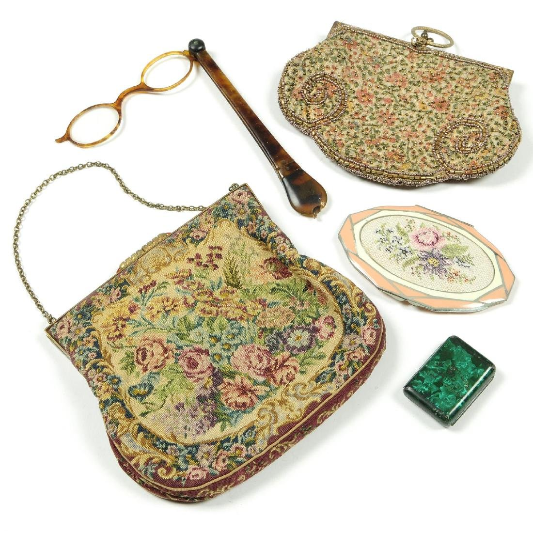 Six vintage handbags and a selection of vintage