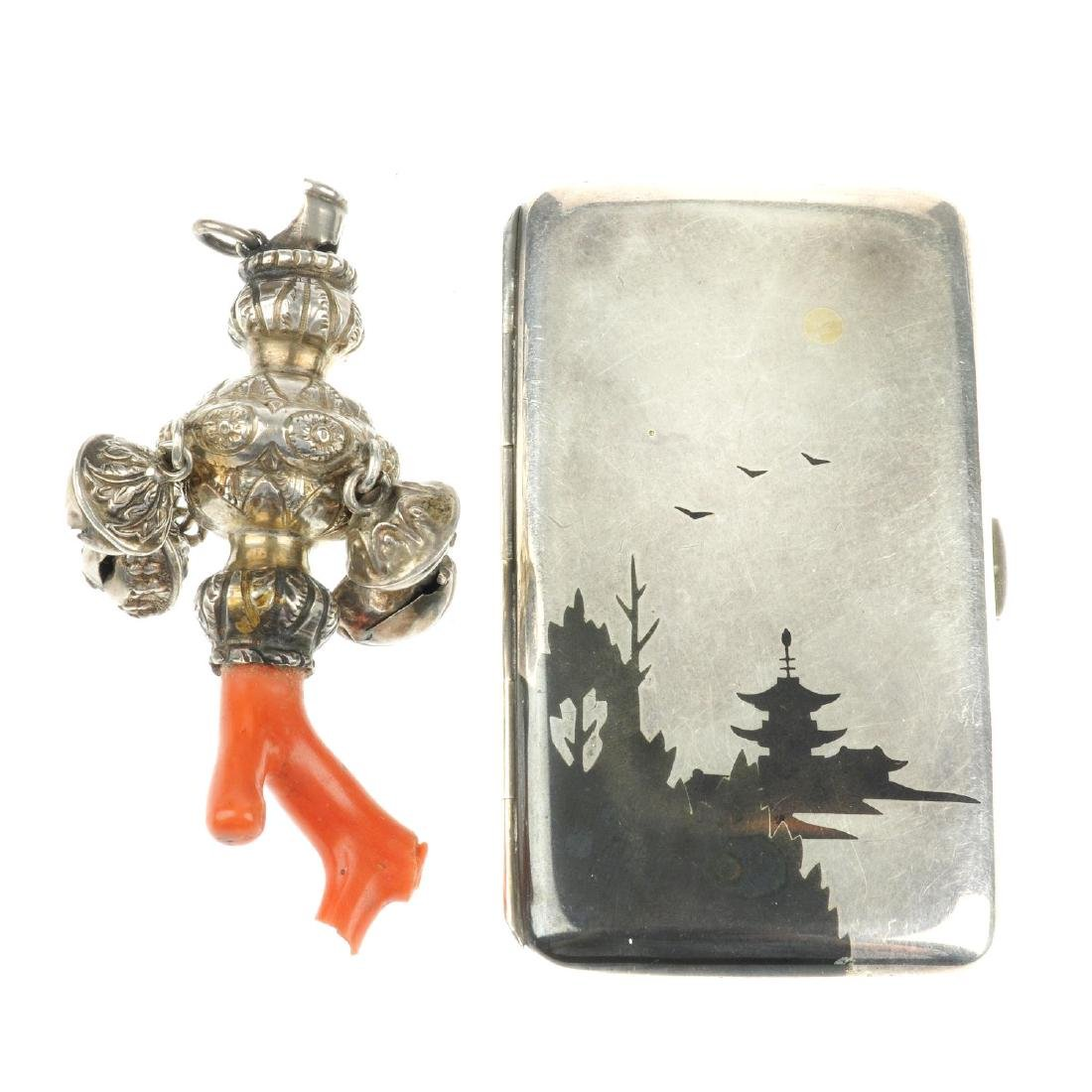 A Japanese card case and a late Victorian silver and