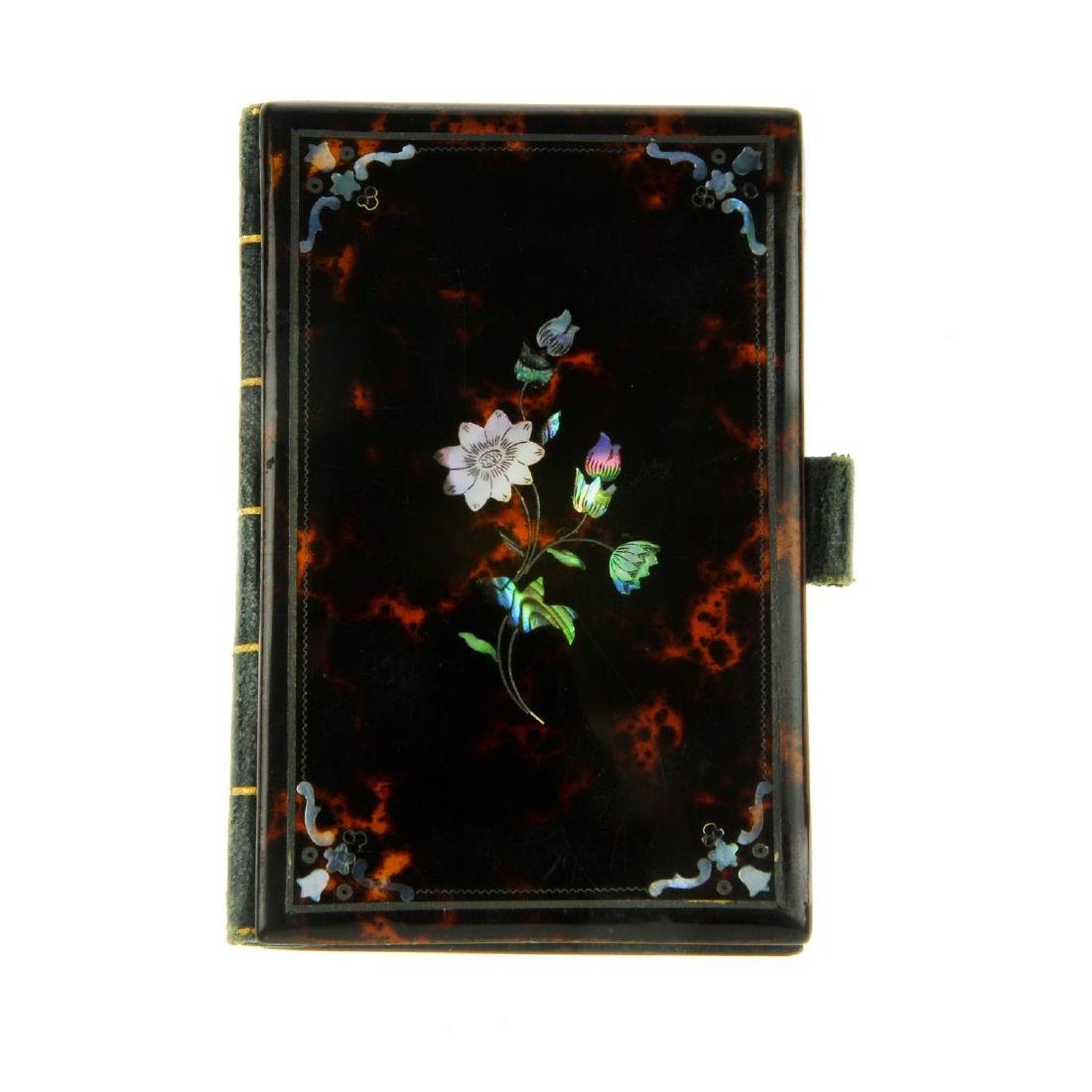 An early 20th century tortoiseshell pique needle case,