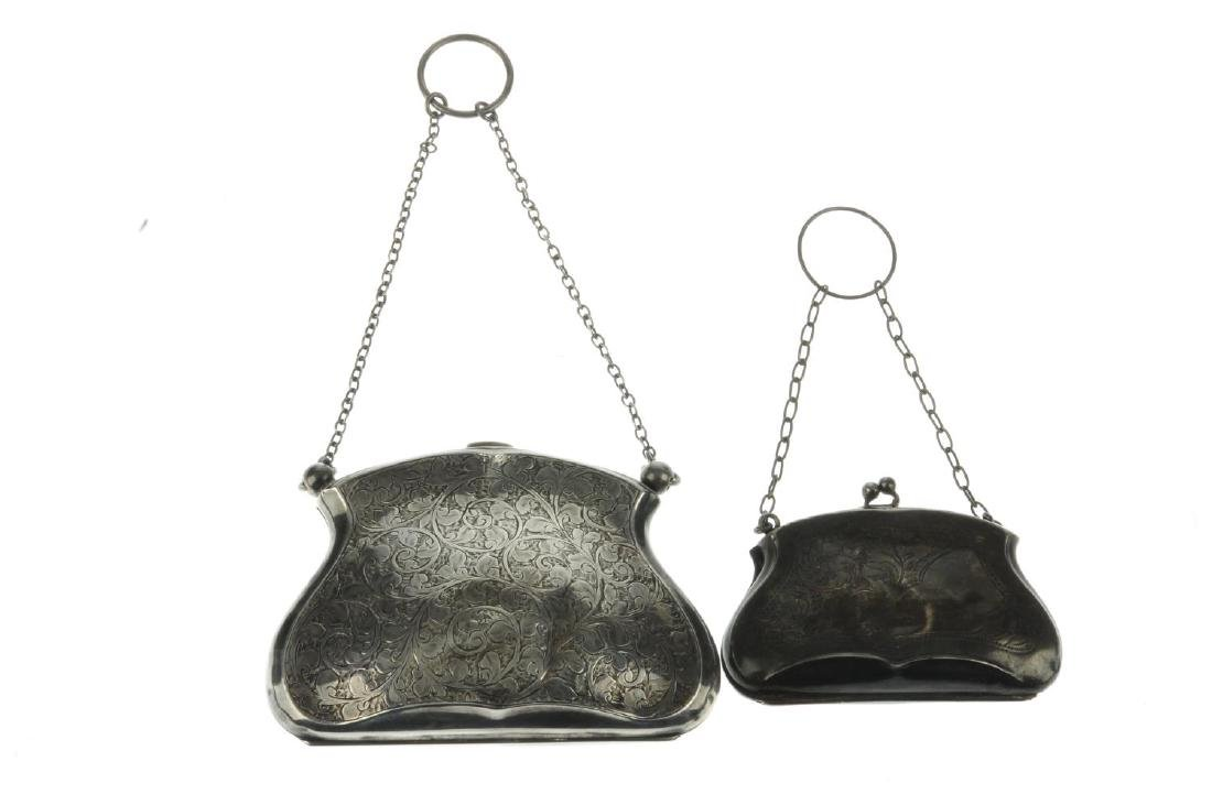 Three early 20th century silver purses. The first - 2
