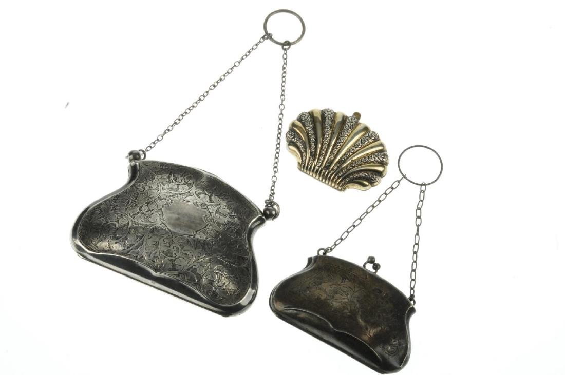 Three early 20th century silver purses. The first - 3