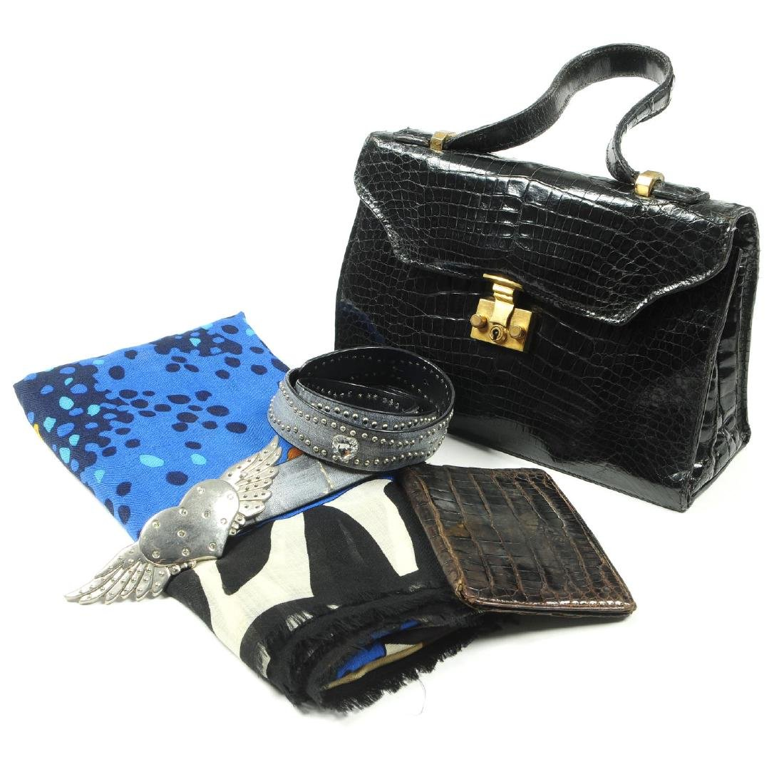 A selection of accessories. To include a vintage black
