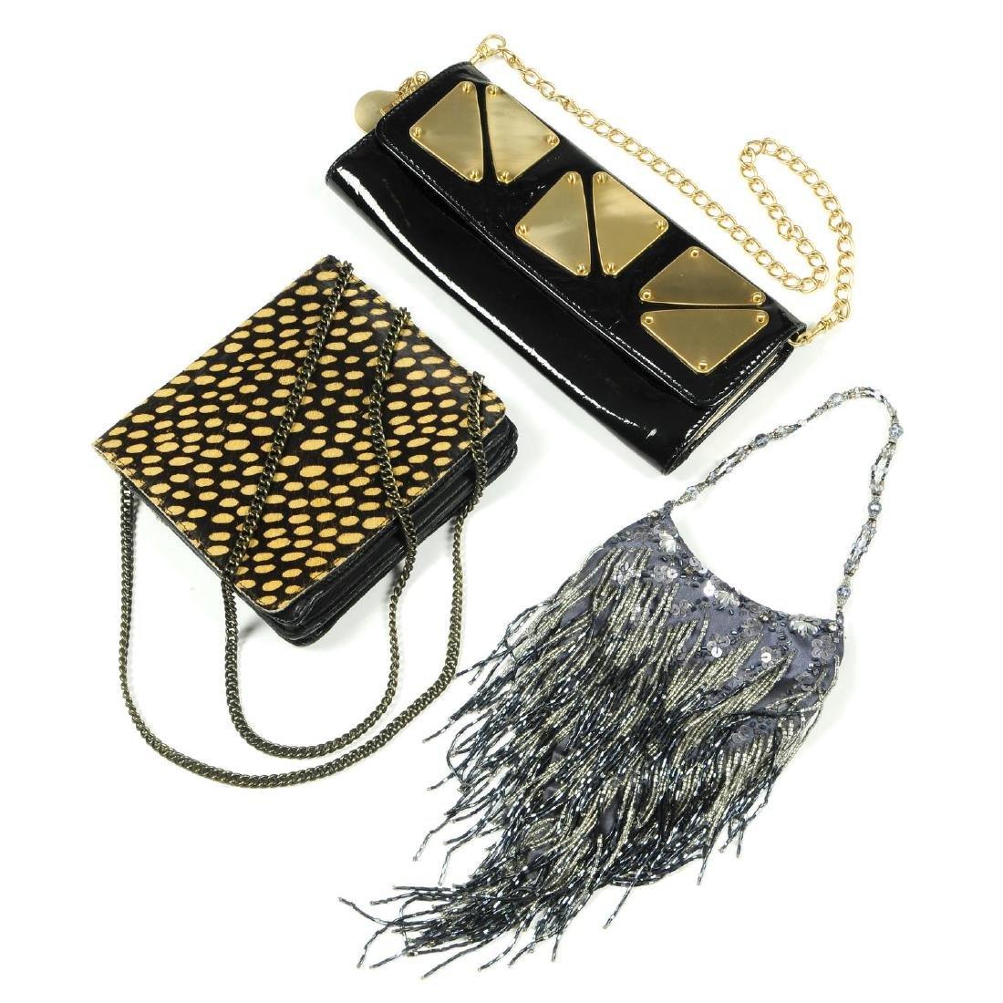 Five evening bags. To include a black Karen Millen