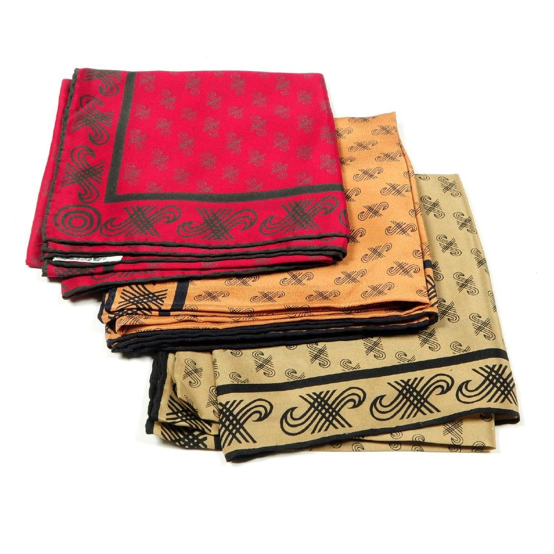 JAEGER - a selection of nine silk scarves. To include