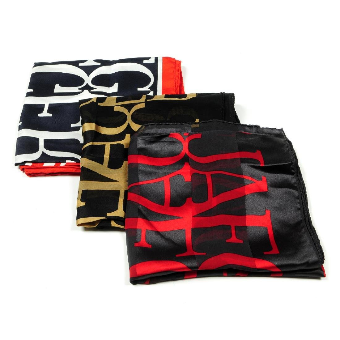 JAEGER - a selection of seven silk scarves. To include
