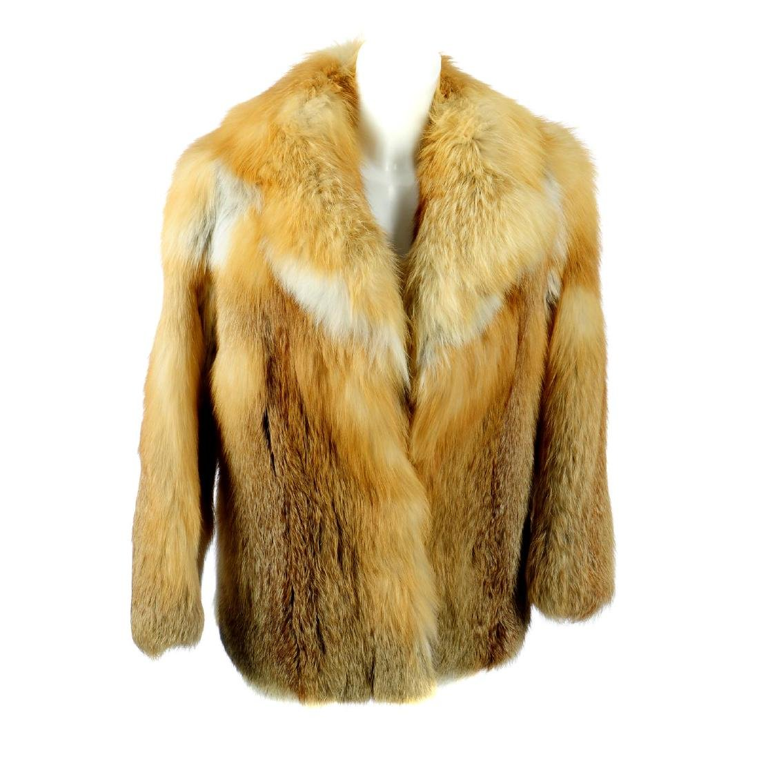 A red fox fur jacket. Featuring a notched lapel collar,