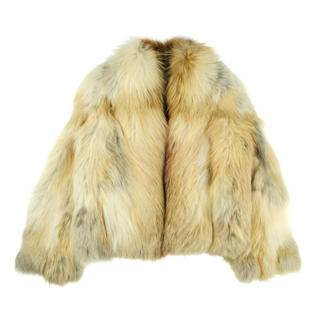A fox fur jacket. Featuring a collarless design, hook