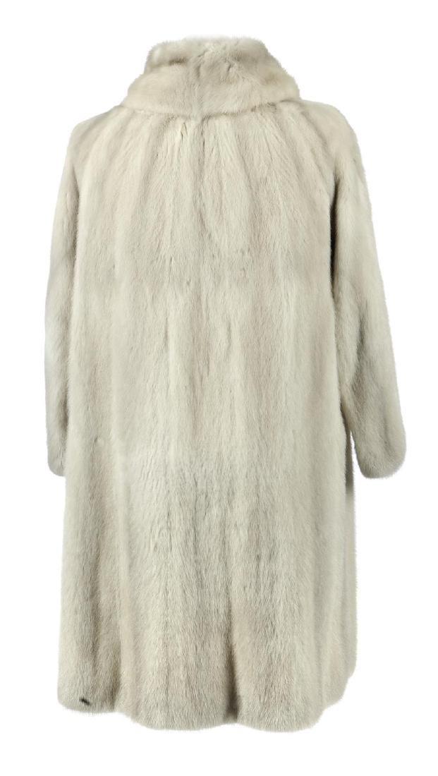 An azurene mink full-length coat. Featuring a shawl - 2