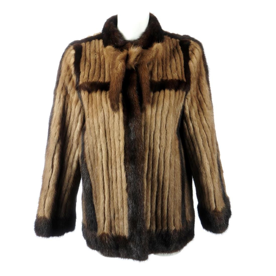 A mink pieced jacket. Crafted from pastel mink tails