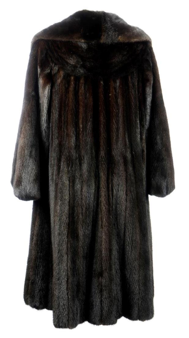 A dark ranch mink full-length coat. Featuring a notched - 2