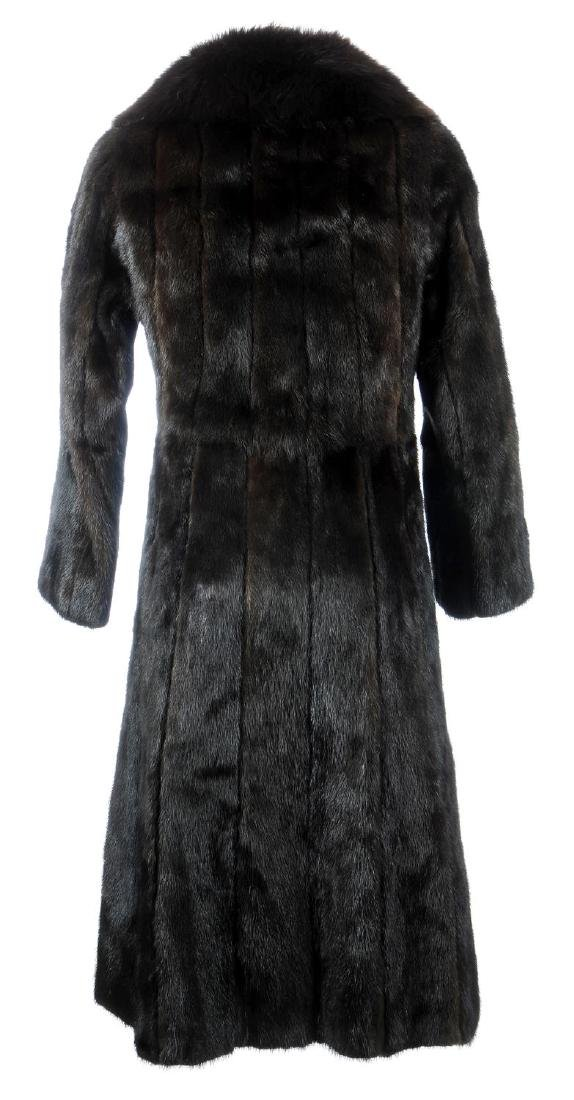 A dark ranch mink full-length coat with fox fur collar. - 3