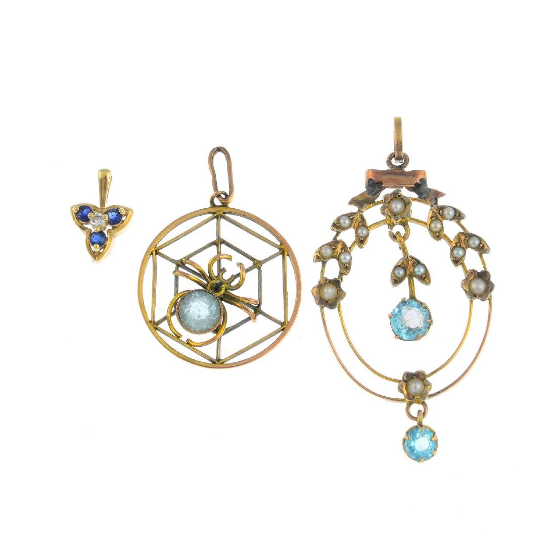 Three gem-set pendant. To include an early 20th century