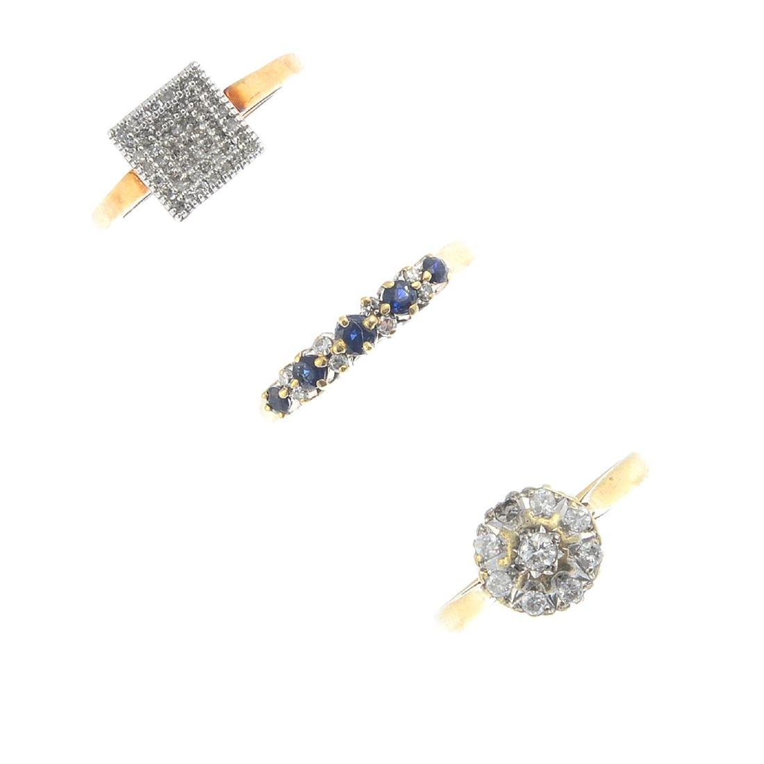 Four diamond and gem-set rings. To include a 9ct gold