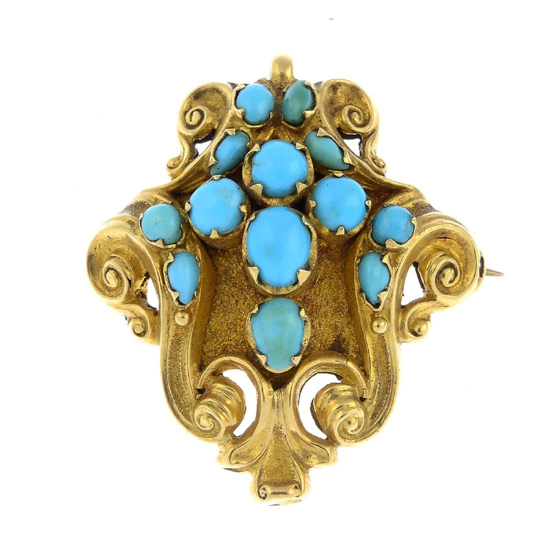 A mid Victorian gold turquoise brooch. The vari-shape