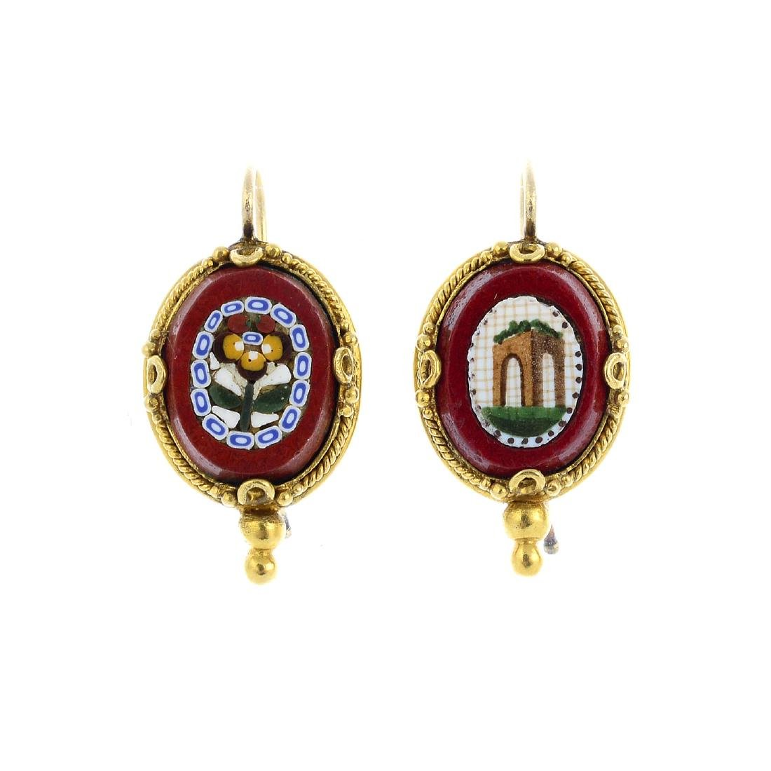 A pair of jasper and gem-set earrings. Each designed as