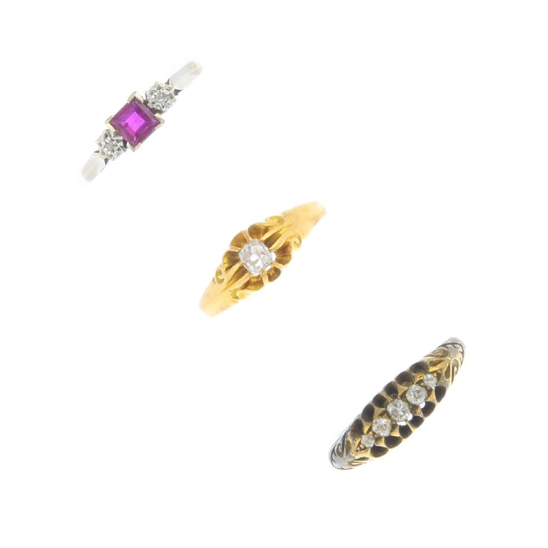 Three diamond and ruby rings. To include an Edwardian