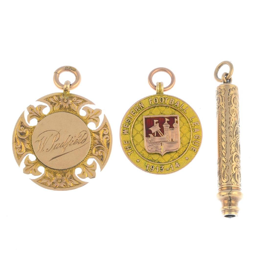 Two early 20th century 9ct gold medals and a