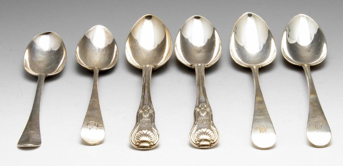 A George II silver table spoon, of Hanoverian pattern