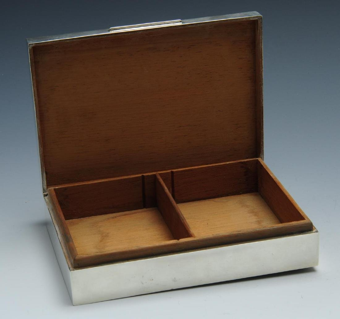 A silver mounted table cigarette box, of rectangular - 2