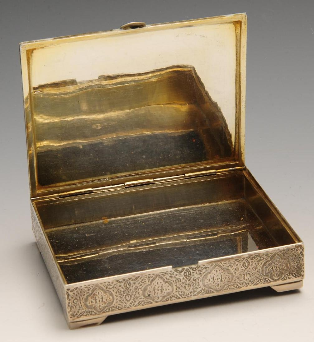 An Iranian silver cigarette box of oblong hinged form, - 2