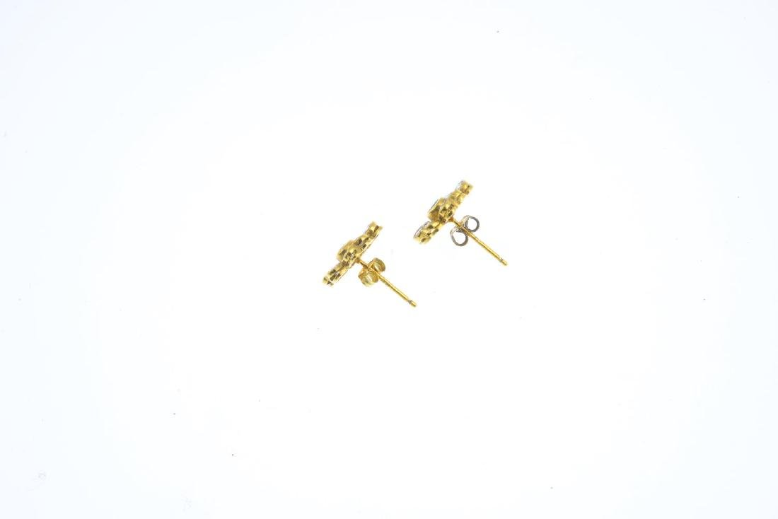 A pair of 18ct gold sapphire and diamond floral - 2