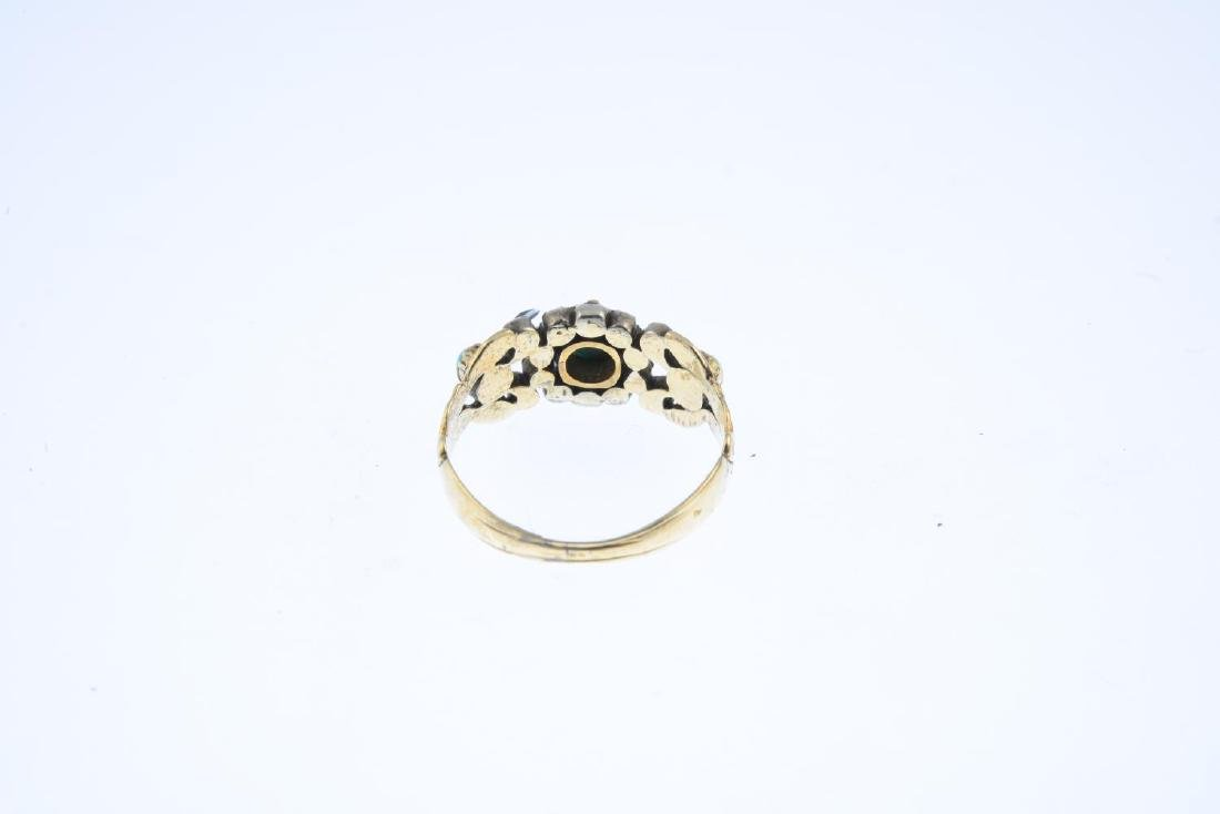A late Georgian 9ct gold turquoise and diamond ring. Of - 3
