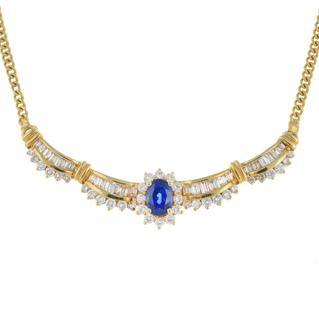 An 18ct gold sapphire and diamond necklace. The