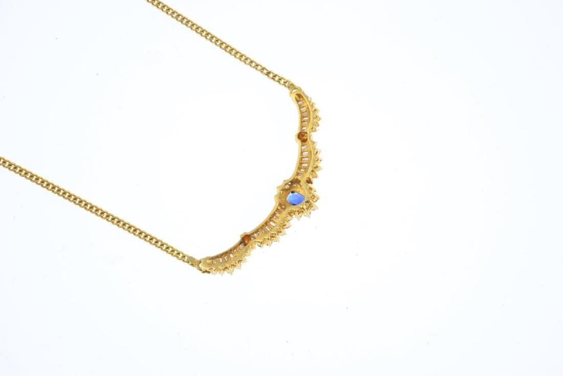 An 18ct gold sapphire and diamond necklace. The - 2