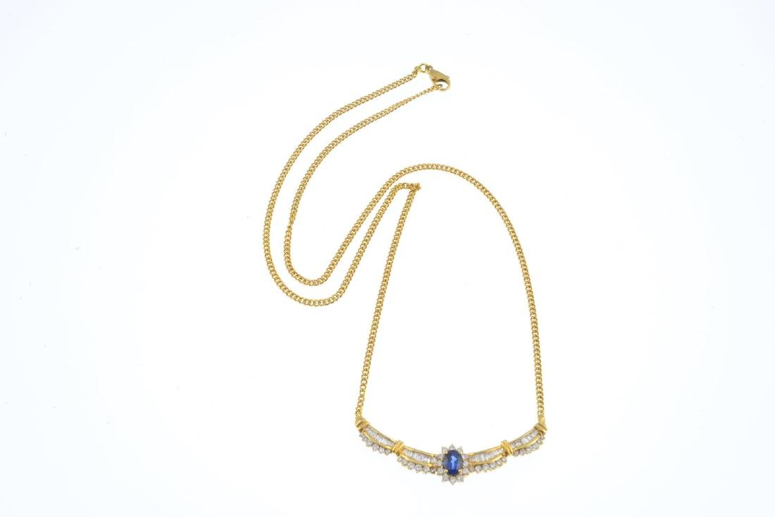 An 18ct gold sapphire and diamond necklace. The - 3