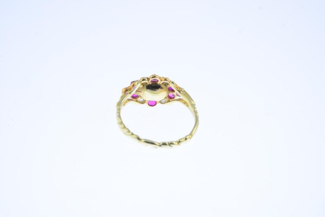 A diamond and ruby cluster ring. The rose-cut diamond, - 3