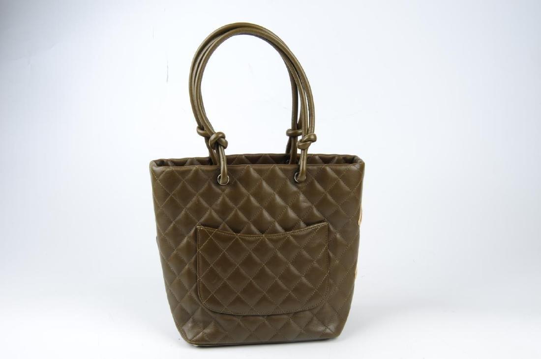 CHANEL - a Ligne Cambon handbag. Featuring a khaki - 2