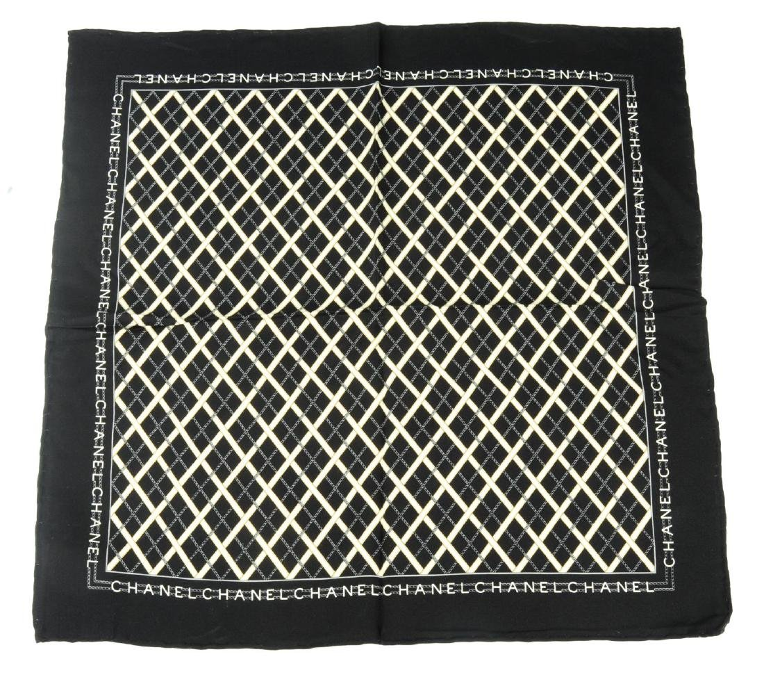 CHANEL - a small silk scarf. A black scarf with a white - 2