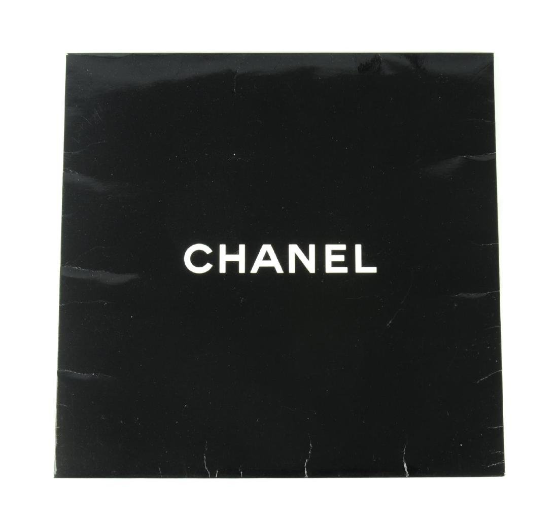 CHANEL - a small silk scarf. A black scarf with a white - 3