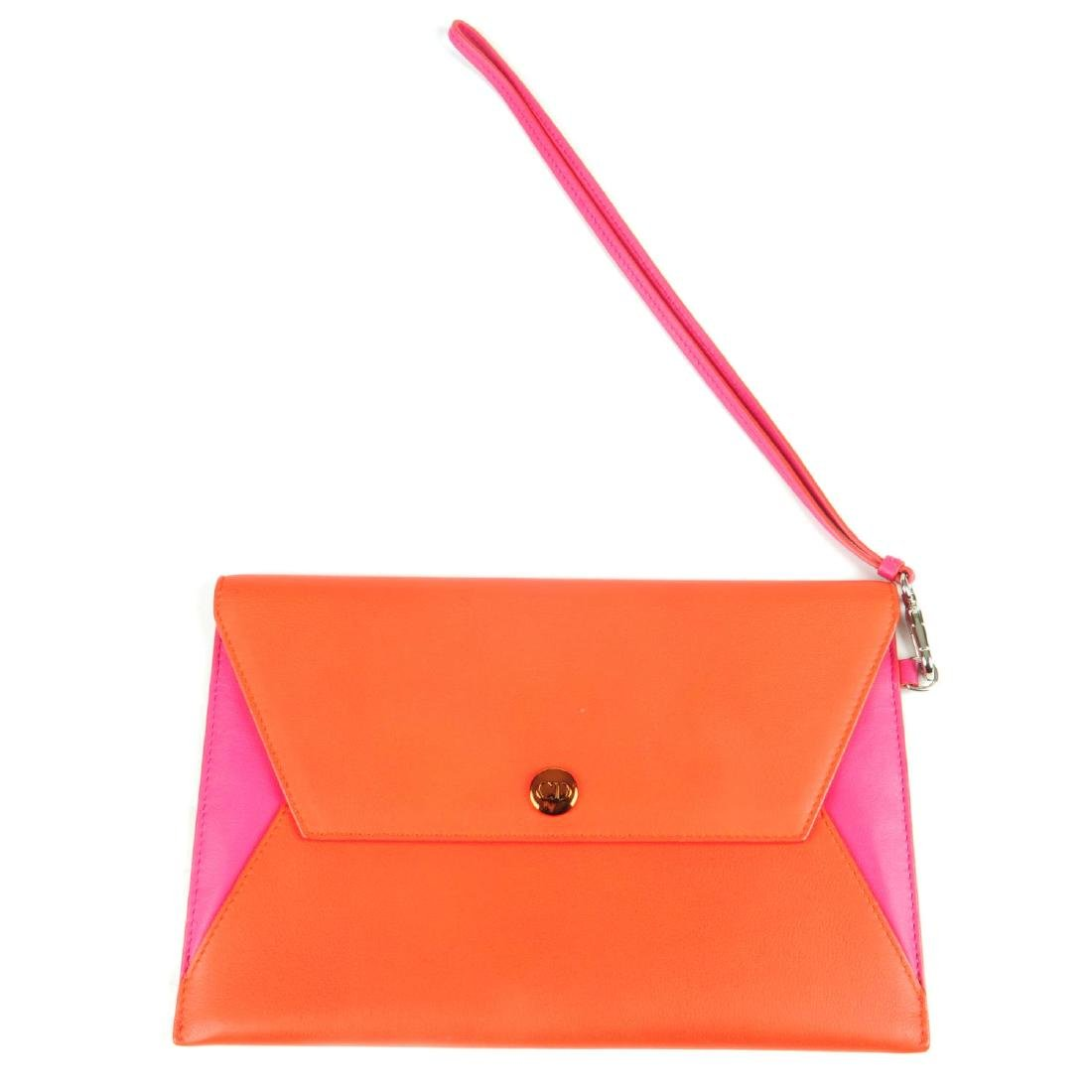 CHRISTIAN DIOR - a leather envelope clutch. Crafted
