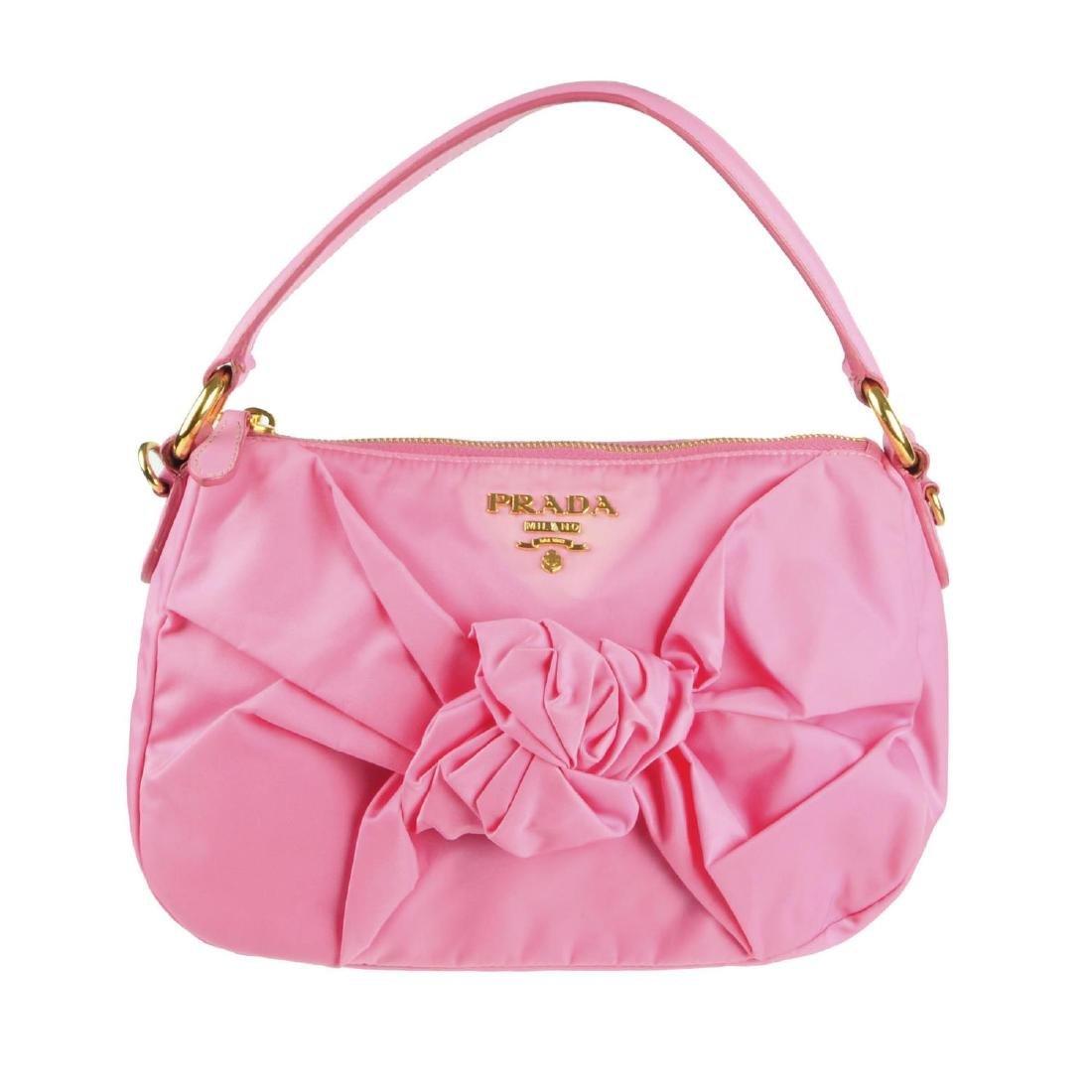 PRADA - a pink Begonia Tessuto Nylon Bow handbag.