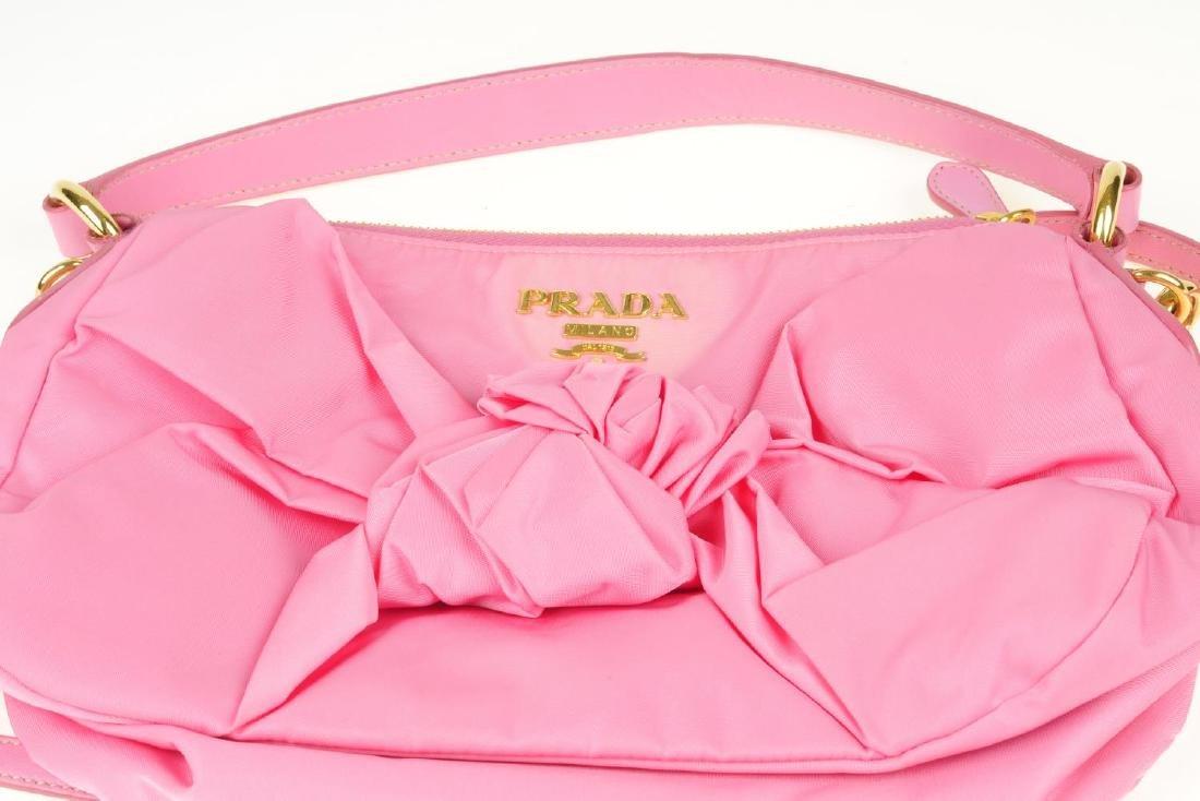 PRADA - a pink Begonia Tessuto Nylon Bow handbag. - 2