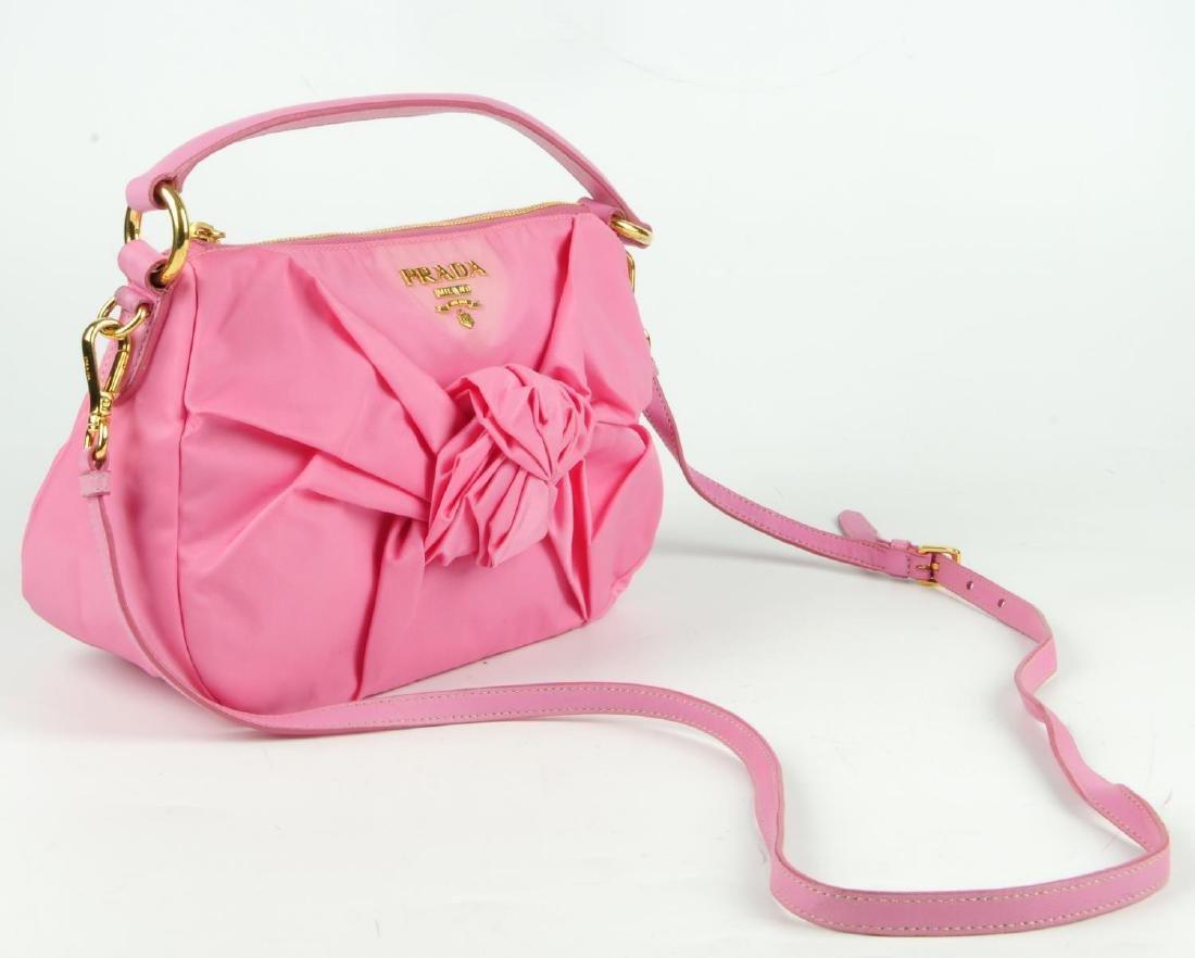 PRADA - a pink Begonia Tessuto Nylon Bow handbag. - 4