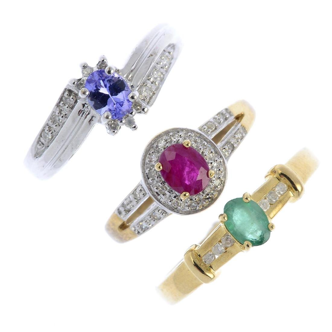 Seven 9ct gold diamond and gem-set rings. To include a
