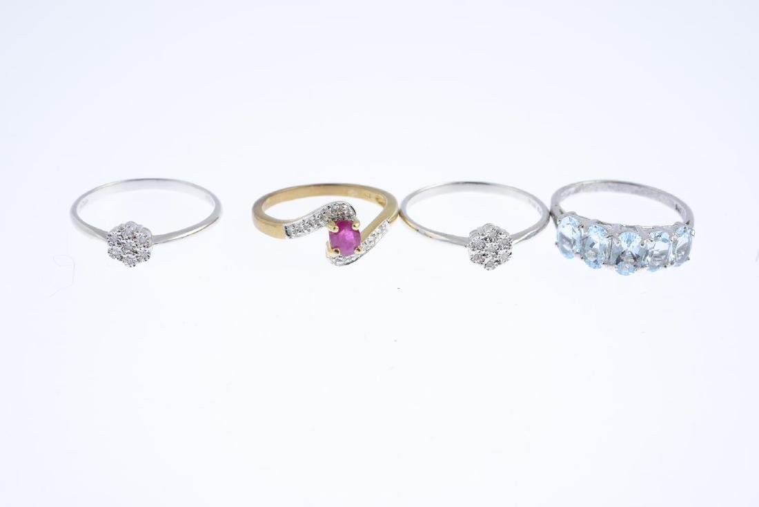 Seven 9ct gold diamond and gem-set rings. To include a - 2
