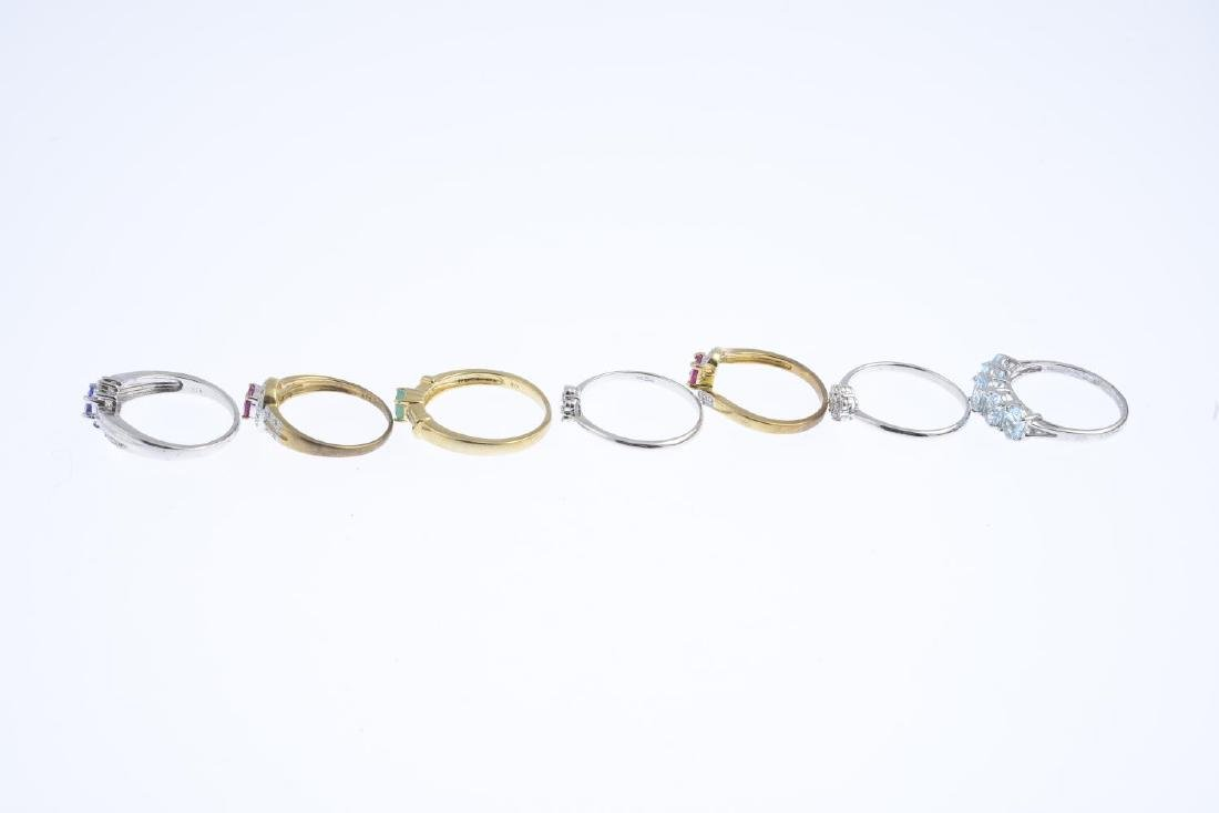 Seven 9ct gold diamond and gem-set rings. To include a - 3