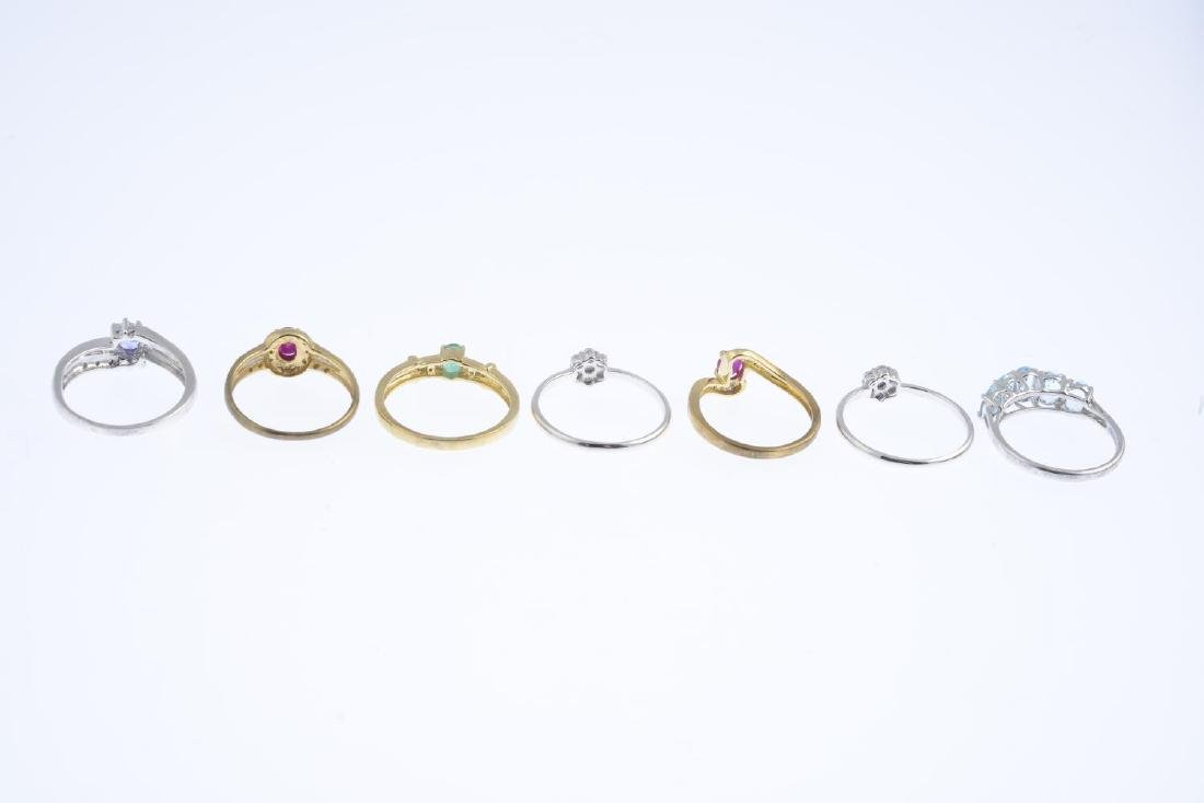 Seven 9ct gold diamond and gem-set rings. To include a - 4