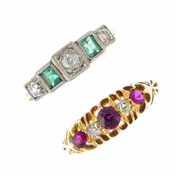 Two early 20th century 18ct gold gem-set rings. To