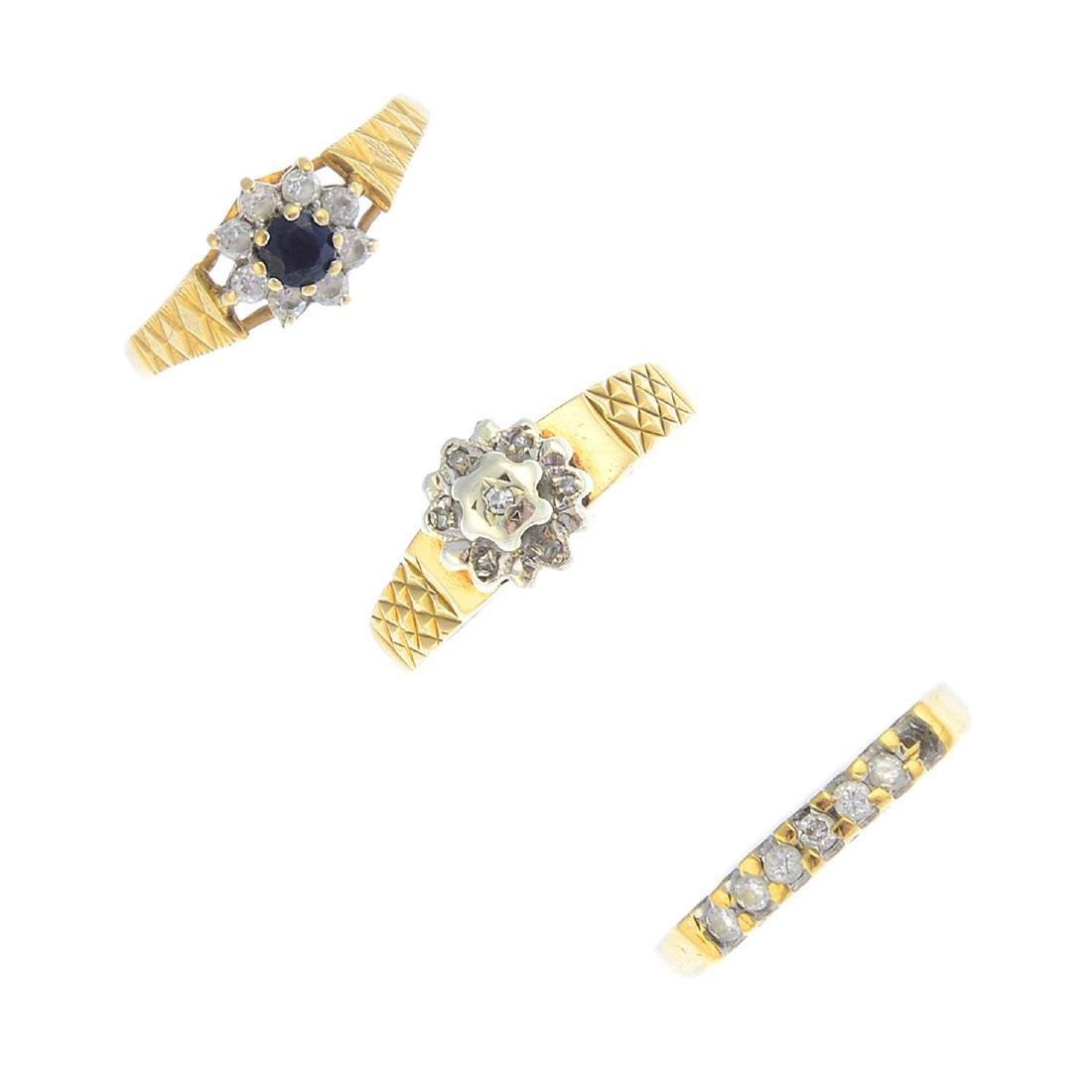 Five gold diamond and gem-set rings. To include a late