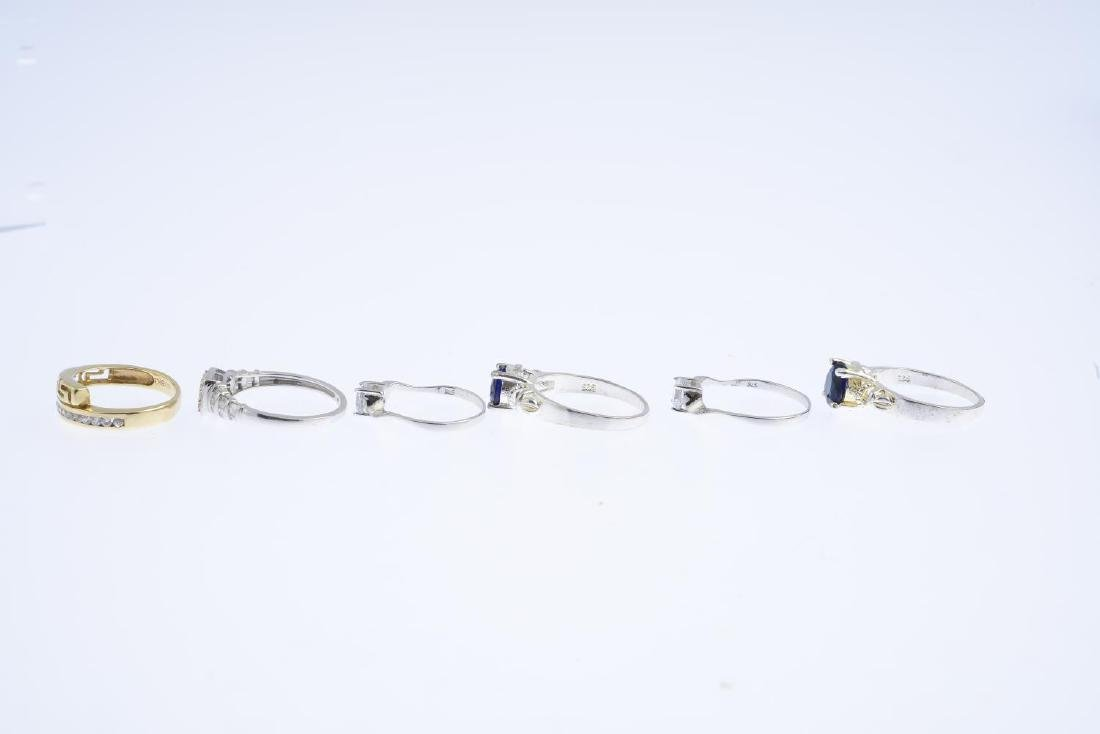 Six gem-set rings. To include a 9ct gold diamond - 3
