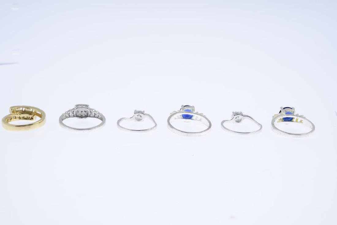 Six gem-set rings. To include a 9ct gold diamond - 4